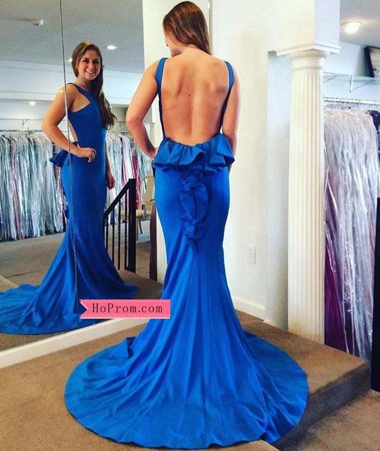 784ea727d8 Sexy Open Back Long Jersey Blue Prom Dress with Ruffle