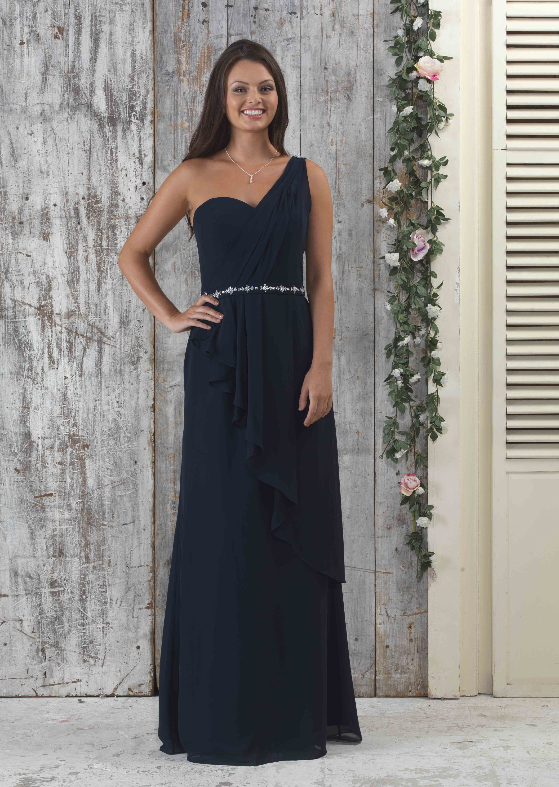 En319 one shoulder chiffon crossover front bridesmaid dress with en319 one shoulder chiffon crossover front bridesmaid dress with waterfall skirt detail front ombrellifo Images