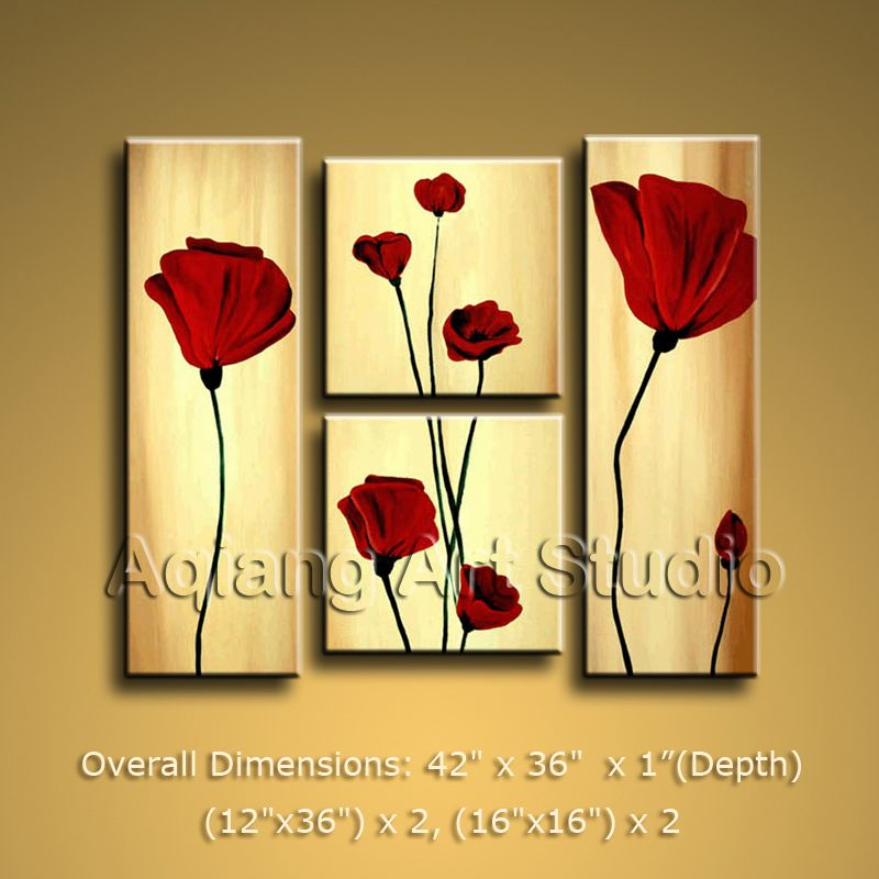 Contemporary Modern Oil Paintings of Poppy Flower Home Decor Wall ...
