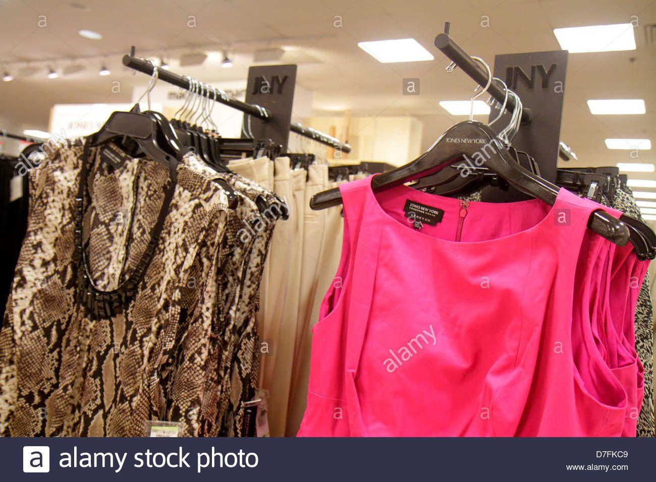 e11ab15ec81f Miami Florida Dadeland Mall shopping for sale Macy's department store  interior women's clothing fashion retail display racks Jon Stock Photo