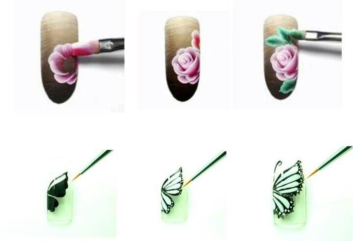 Pinceladas One Stroke I Pdzelek Pinterest Nail Art Techniques