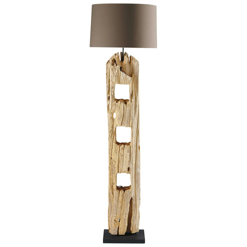 Staande Lamp In Hout H 170 Cm Lampen Vloerlamp Drijfhout Lamp