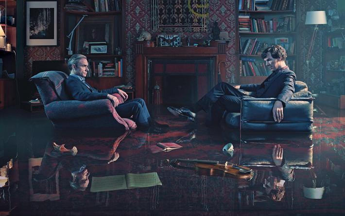 Download wallpapers Sherlock, Series 4, 2017, Benedict Cumberbatch, Martin Freeman, Official Teaser, Dr Watson