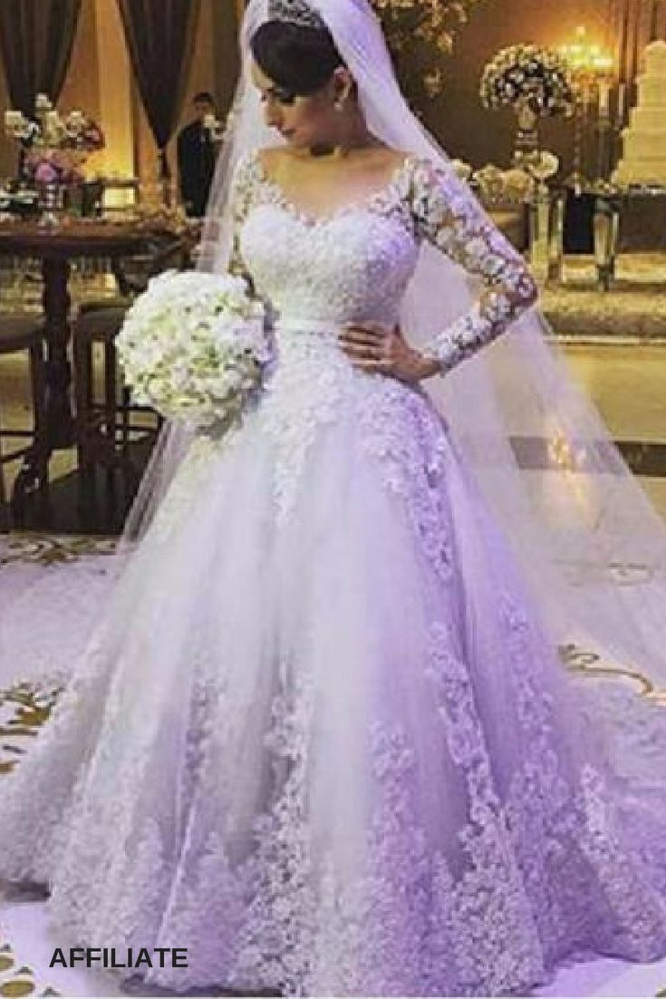 Plus size long sleeve wedding ball gown dresses v neck lace bride