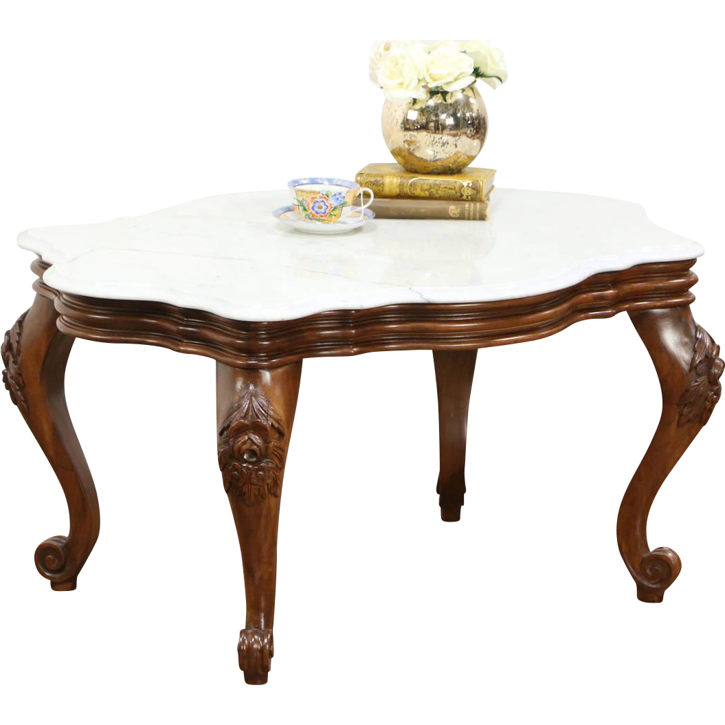 Victorian Style Vintage Marble Top Coffee Table, Carved Walnut $875 Plus  Shipping