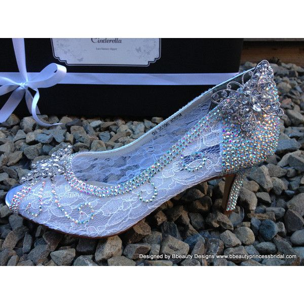 Sample Cinderella Fantasy Lace Couture Slippers Style Adult Wedding...  ($350) ❤ liked on Polyvore featuring shoes, flat dress shoes, evening dress  shoes, ...