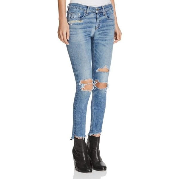 rag & bone/Jean The Skinny Jeans in Commodore (€245) ❤ liked on Polyvore featuring jeans, commodore, denim jeans, destructed jeans, destructed skinny jeans, blue skinny jeans and destroyed denim jeans