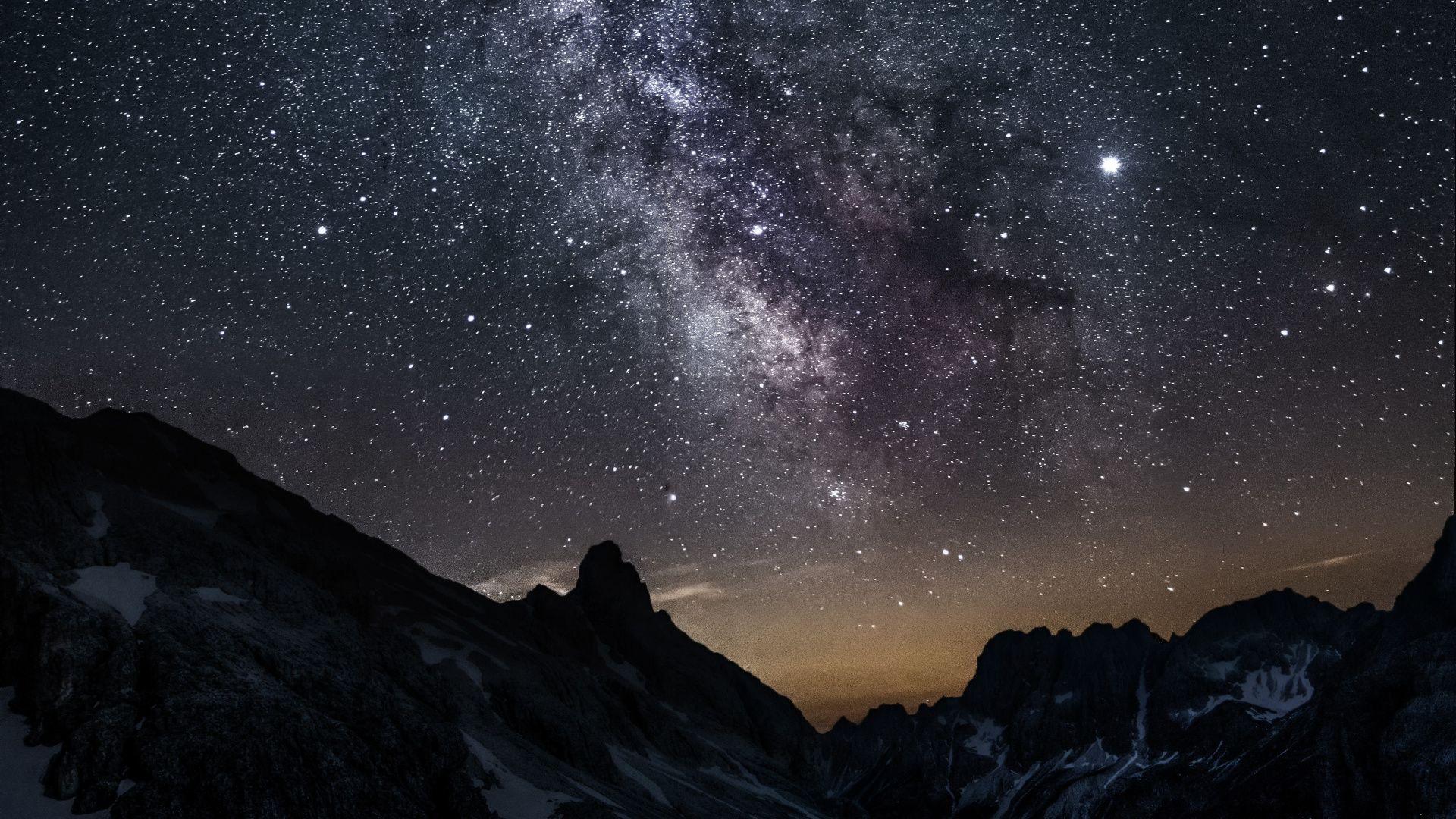 1920x1080 Valley Mountain Night Starry Sky Wallpaper Sky Wallpaper Wallpaper Watercolor Wallpaper Iphone