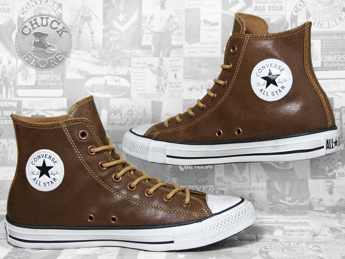 Converse Chucks Hi Leather Wheat Braun   Brown leather