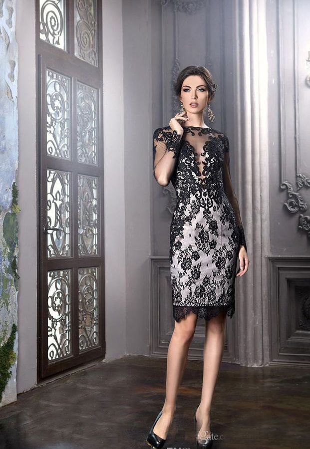 26f9acdf0efe9 Elegant Mother Of the Bride Groom Dress Black Lace Knee Length Formal Party  Gown Groom Dress Black