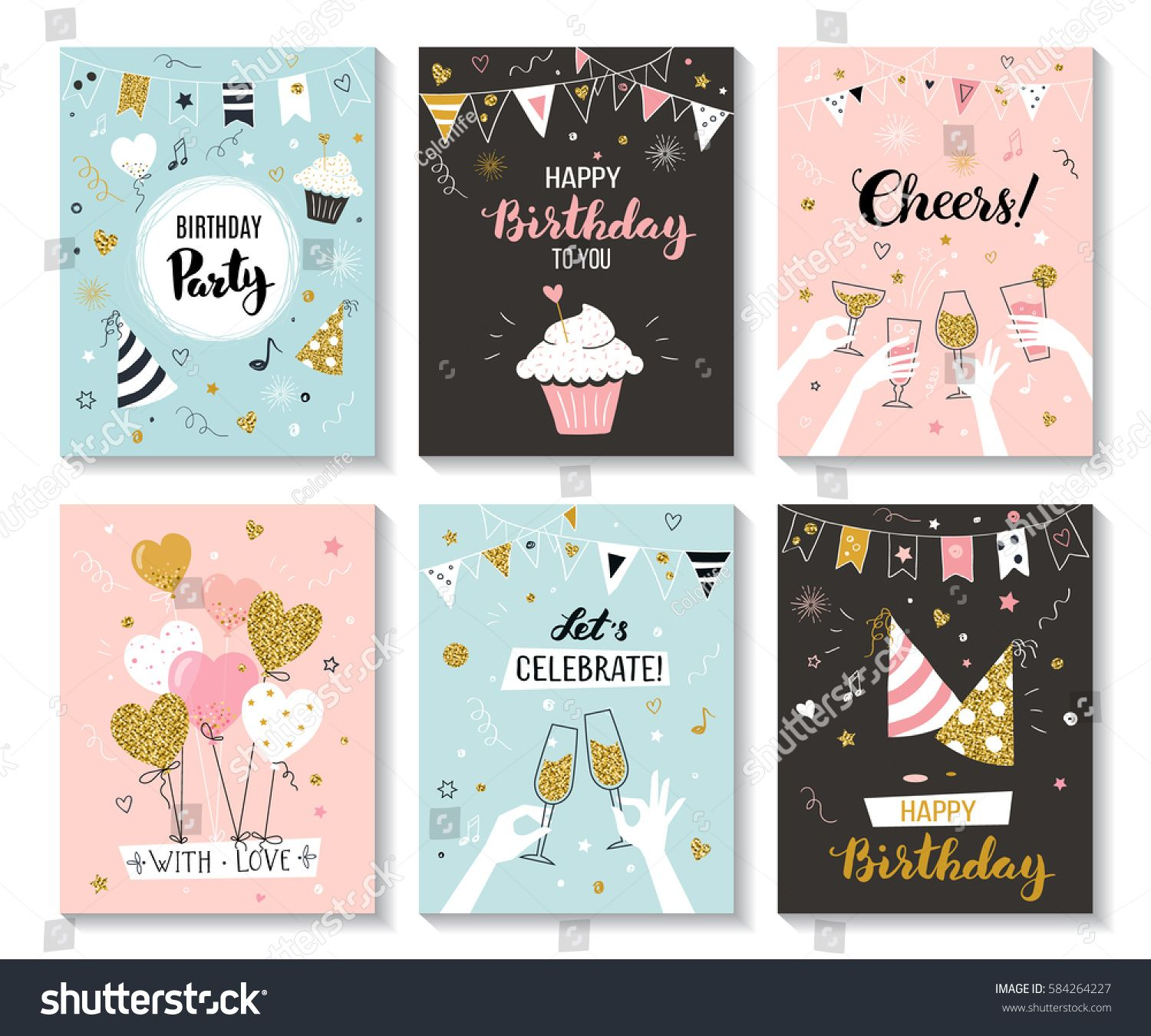 happy birthday greeting card and party invitation templates vector