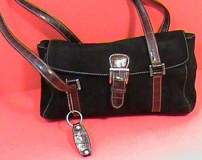 Tignanello Shoulder Bag Hand Bag Purse Suede Black | eBay