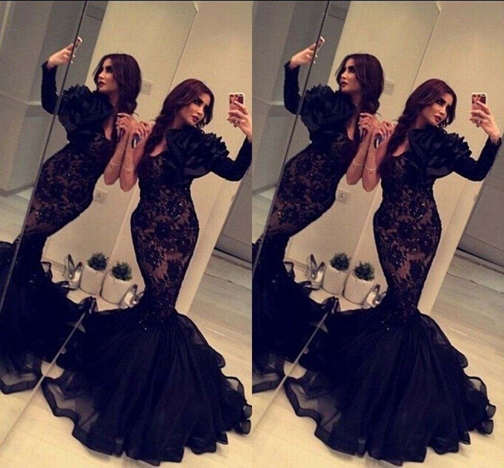 Black Mermaid Formal Dresses for Women