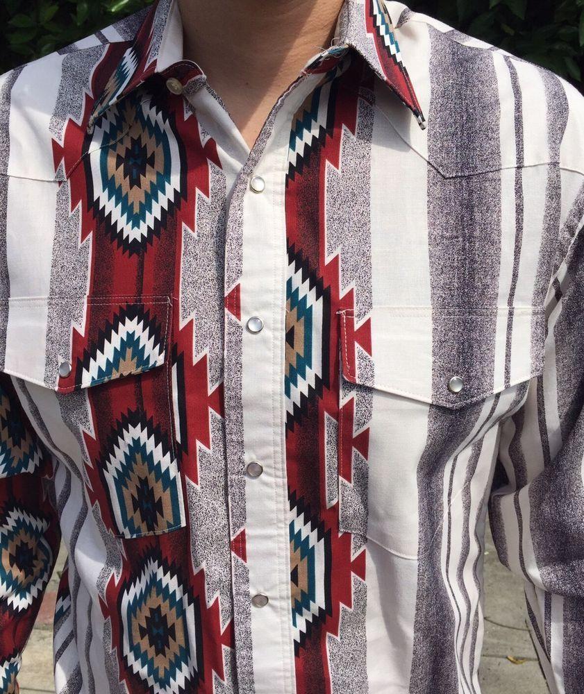42da0f71 WRANGLER Mens Pearl Snap Shirt 151/2-33 Long Tail Western Aztec Cowboy XL # Wrangler #Western