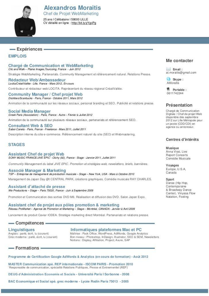 Nouveau Cv En Ligne Chef De Projet Web Cv Community Manager Cv En Ligne