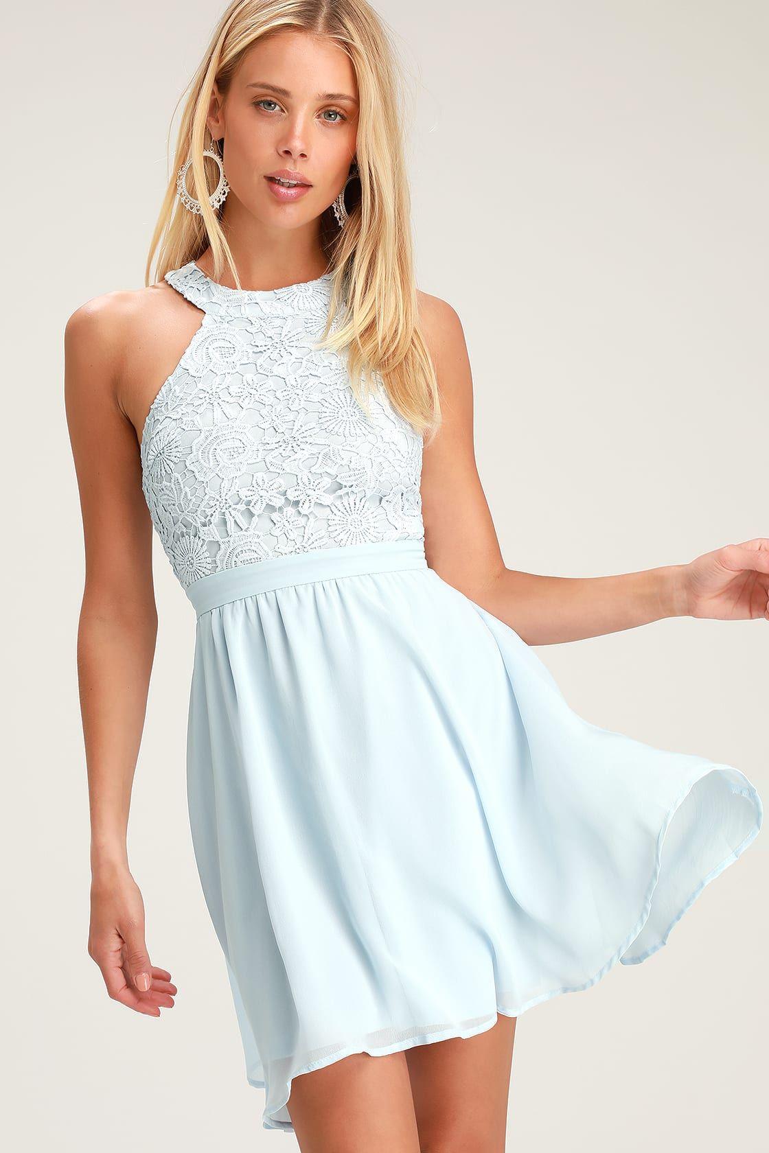 afb0ed3b8e2 Cute Light Blue Dress - Lace Dress - Halter Skater Dress