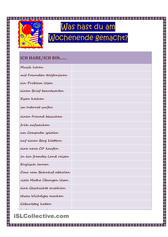 Was hast du am Wochenende gemacht? 1 | Deutsch and German resources