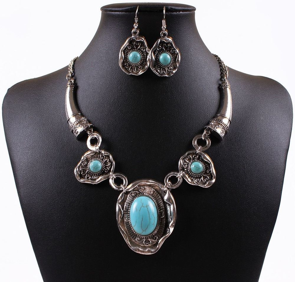Tibet Silver Turquoise Blue Stone  Necklace Earrings Set Christmas gift