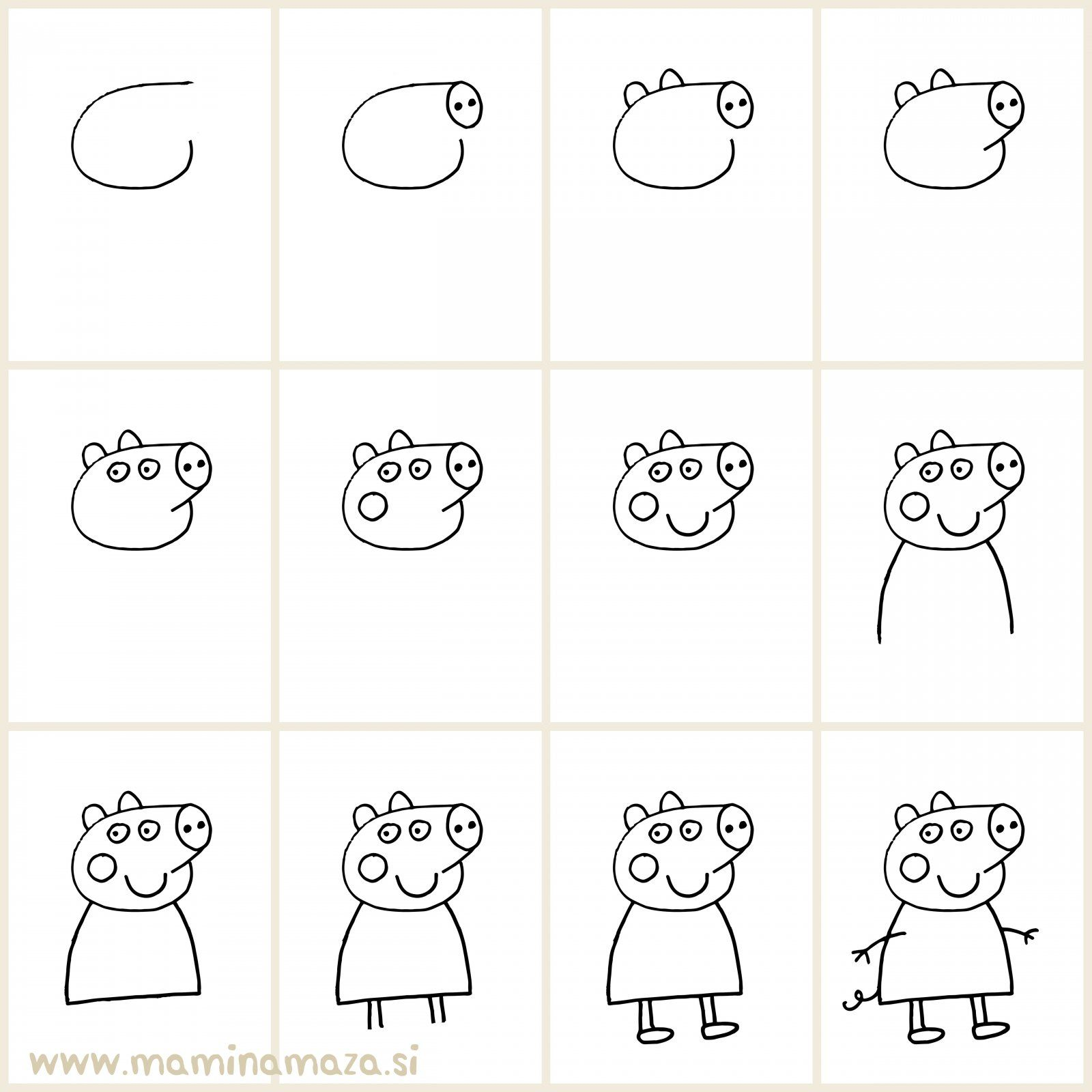 Kako Narisati Pujso Pepo // Easy Way To Draw Peppa Pig And Impress Your Kids
