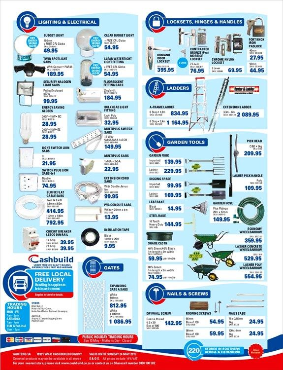 Catalogue Of Offers From Cashbuild Ponds And Faux Brick Ideas