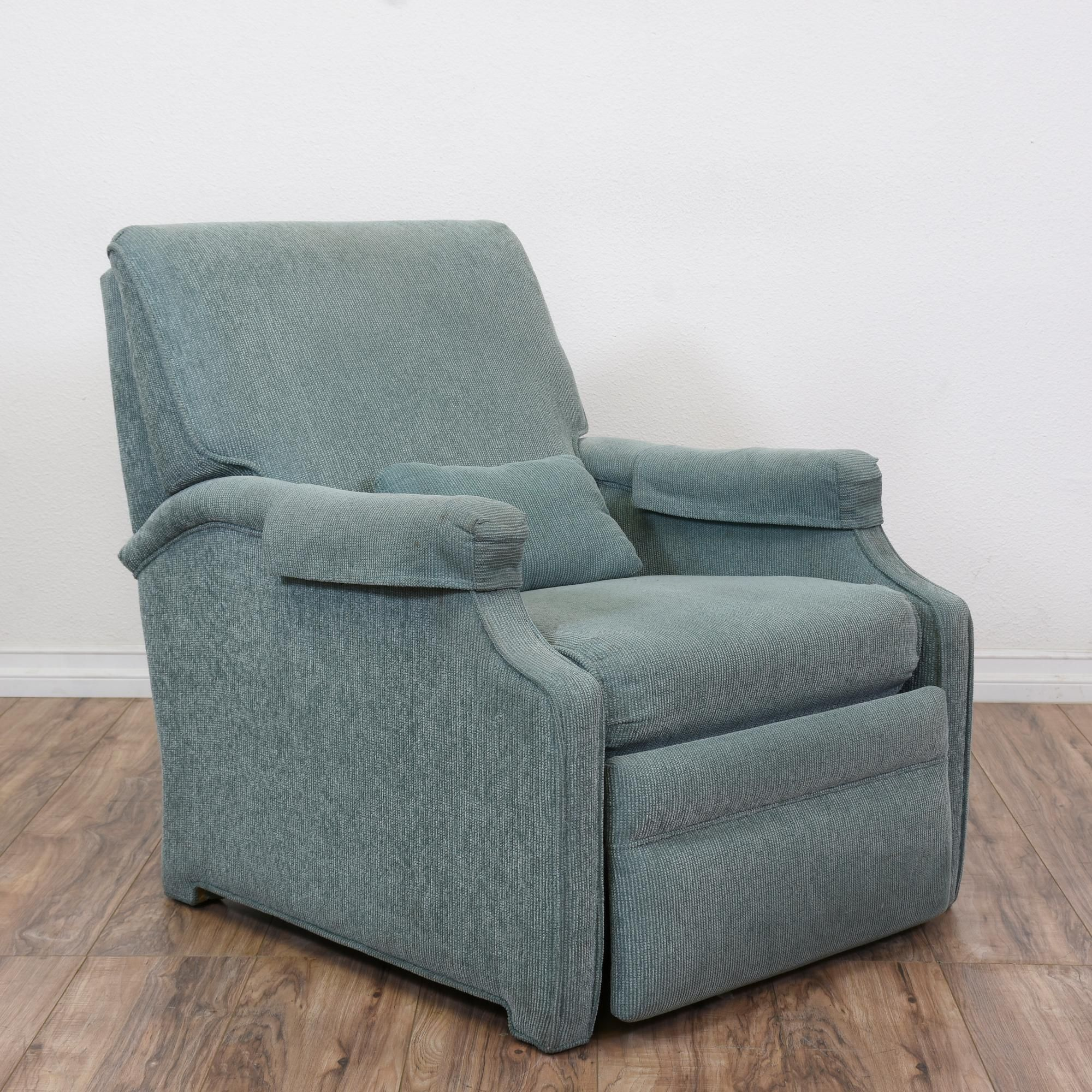 Armchair Sleeves Exercise Ball Chair Base With Wheels This Simple Recliner Is Upholstered In A Durable Light Blue Green Good Condition Reclining Back Lift Up Footrest And Removable Arm
