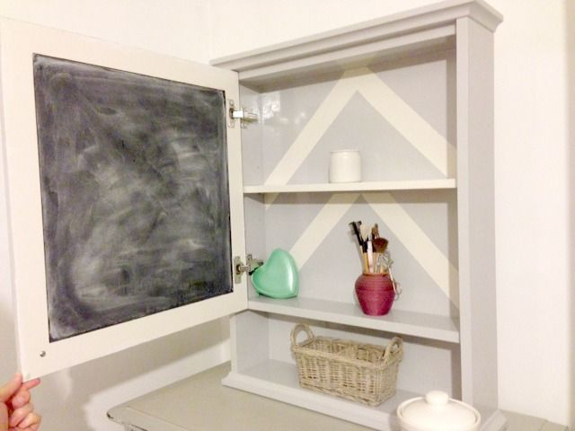 Customised Chevron Bathroom Cabinet With Blackboard Door By Claireabellemakes