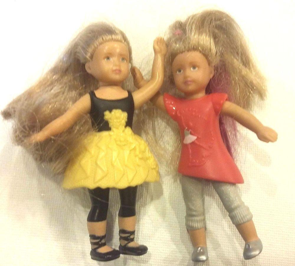 "3"" Miniature Barbie Dollhouse Style Family Child Kid Doll AMERICAN GIRL lot of 2 #Miniature #Dolls"
