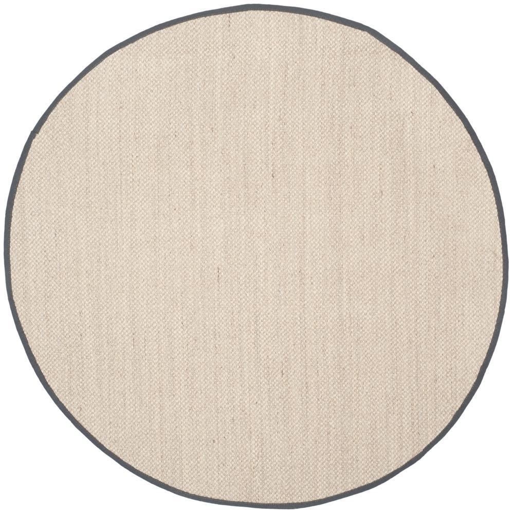 Safavieh Natural Fiber Marble Dark Grey 6 Ft X 6 Ft Round Indoor