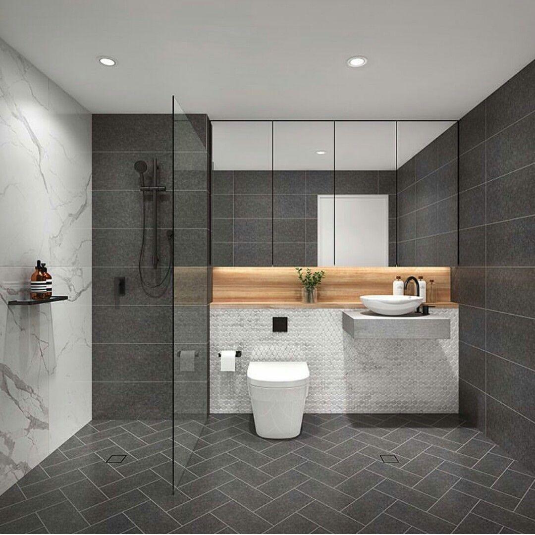Skheme tiles  Badgestaltung, Kleines dunkles badezimmer, Bad styling