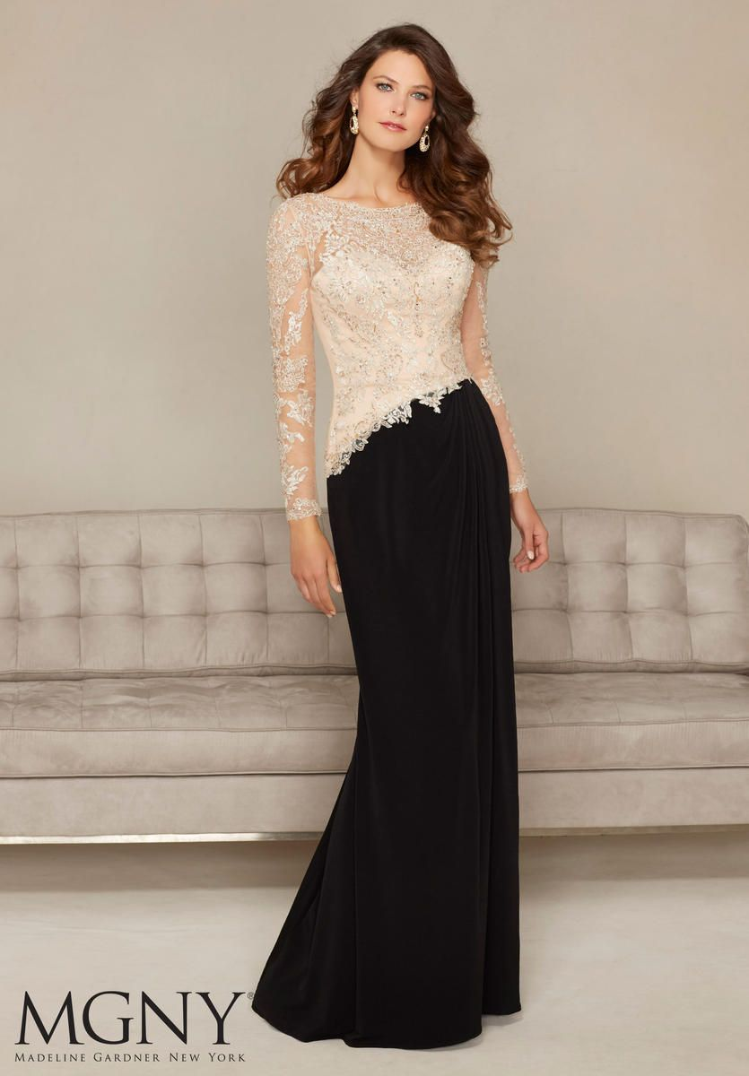Mgny by mori lee is a sheer long sleeve jersey formal gown