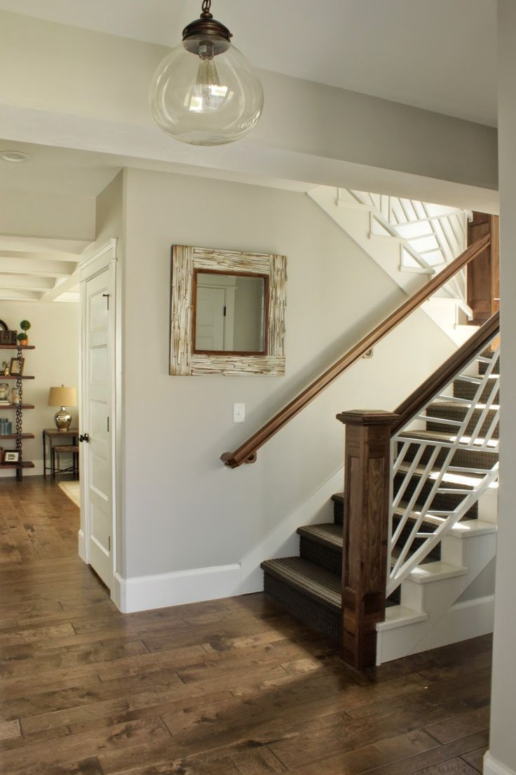 Sherwin Williams Repose Gray Is A Beautiful Light Paint Colour With Subtle Undertones Shown Wood Flooring Going Up Stairs