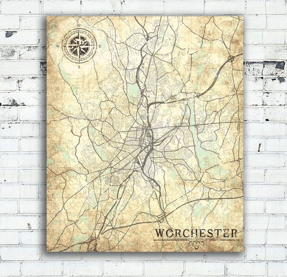 WORCESTER MA Canvas Print Massachusetts Vintage Map Worcester Ma - Oversized map prints