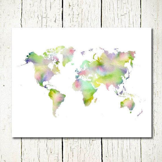 World map watercolor world map printable world map instant world map watercolor world map printable world map instant download world map wall decor digital gumiabroncs Image collections