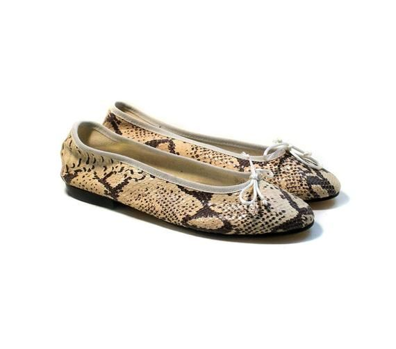 79f45c02a5b28 90s Snakeskin Flats size 10, Vintage Clifford & Wills Snake Leather ...
