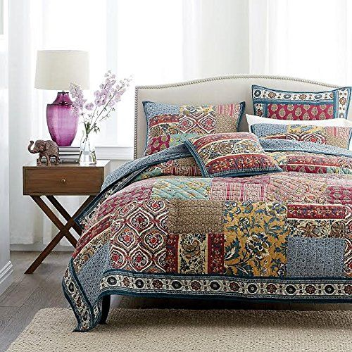 DaDa Bedding Collection Reversible Bohemian Real Patchwork Cotton ... : patchwork king quilt - Adamdwight.com