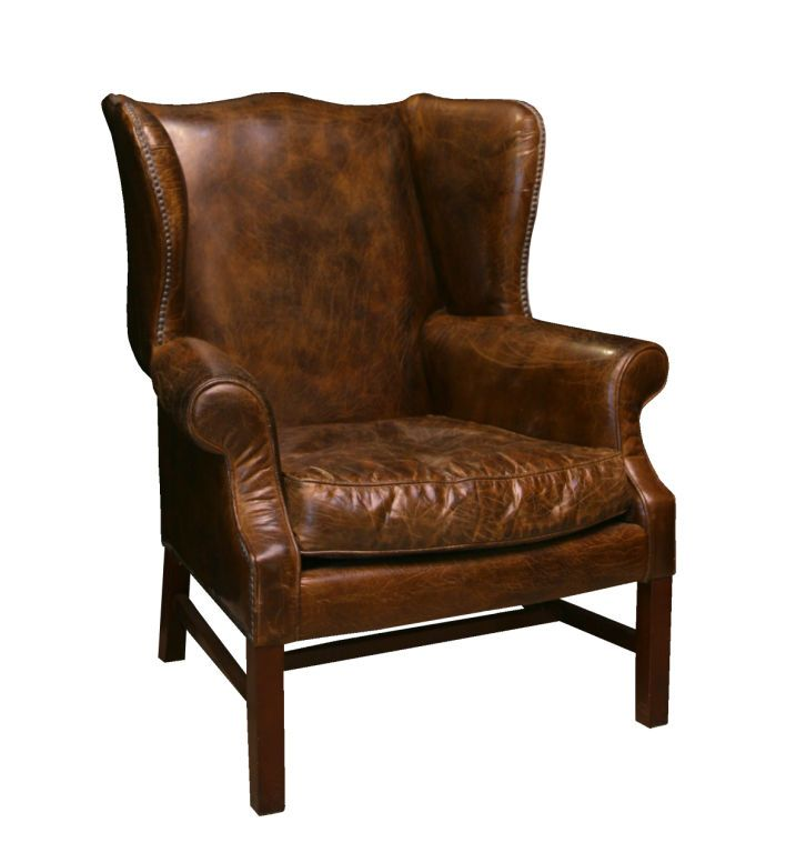 Impressive Distressed Leather Wing Back Chair