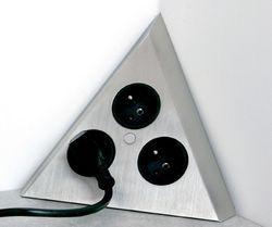 multiprise d'angle pour cuisine support triangulaire inox. ms94303 ... - Plan De Travail D Angle Pour Cuisine