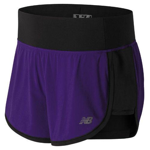 a8b3b1ed5d9c2 New Balance 63225 Women's Impact 4 Inch 2 in 1 Short - Purple/Black  (WS63225BPM)