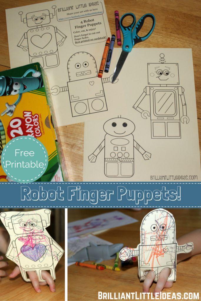 4 Robot Finger Puppets Brilliant Robot Theme Pinterest Finger