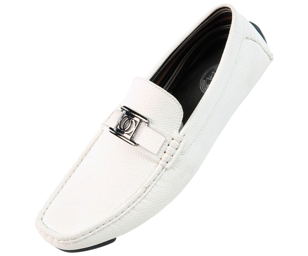 f80b86e8c747 Just Mens Shoes - Amali Mens White Smooth Casual Driving Moccasin Loafer  Style 1411-007