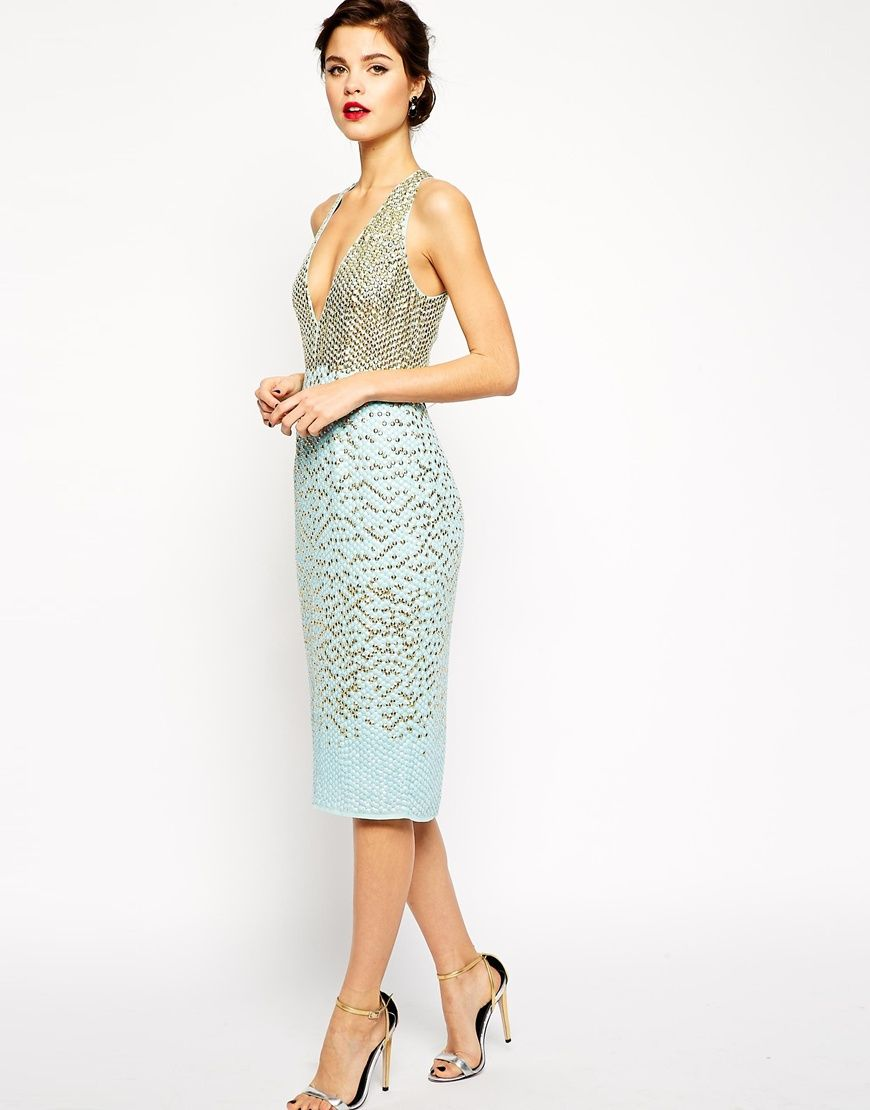 ce6cc51bcea Image 1 of ASOS RED CARPET Premium Embellished Midi Dress With Plunge Front