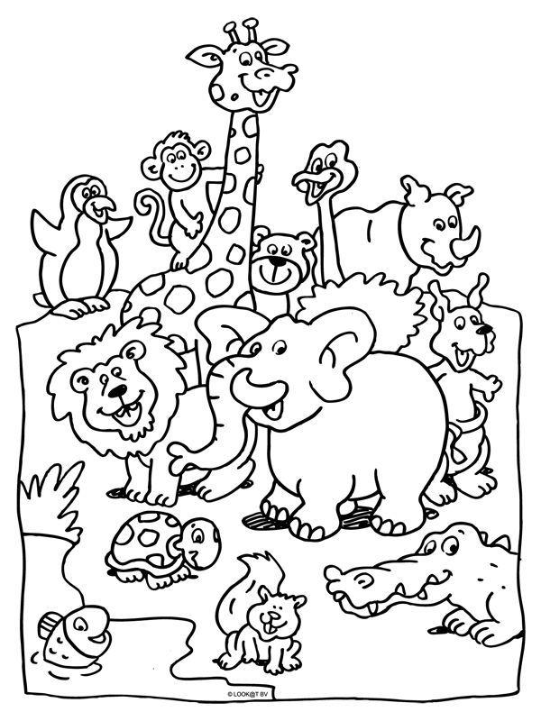 kleurplaat dieren in de dierentuin  kleurplatennl