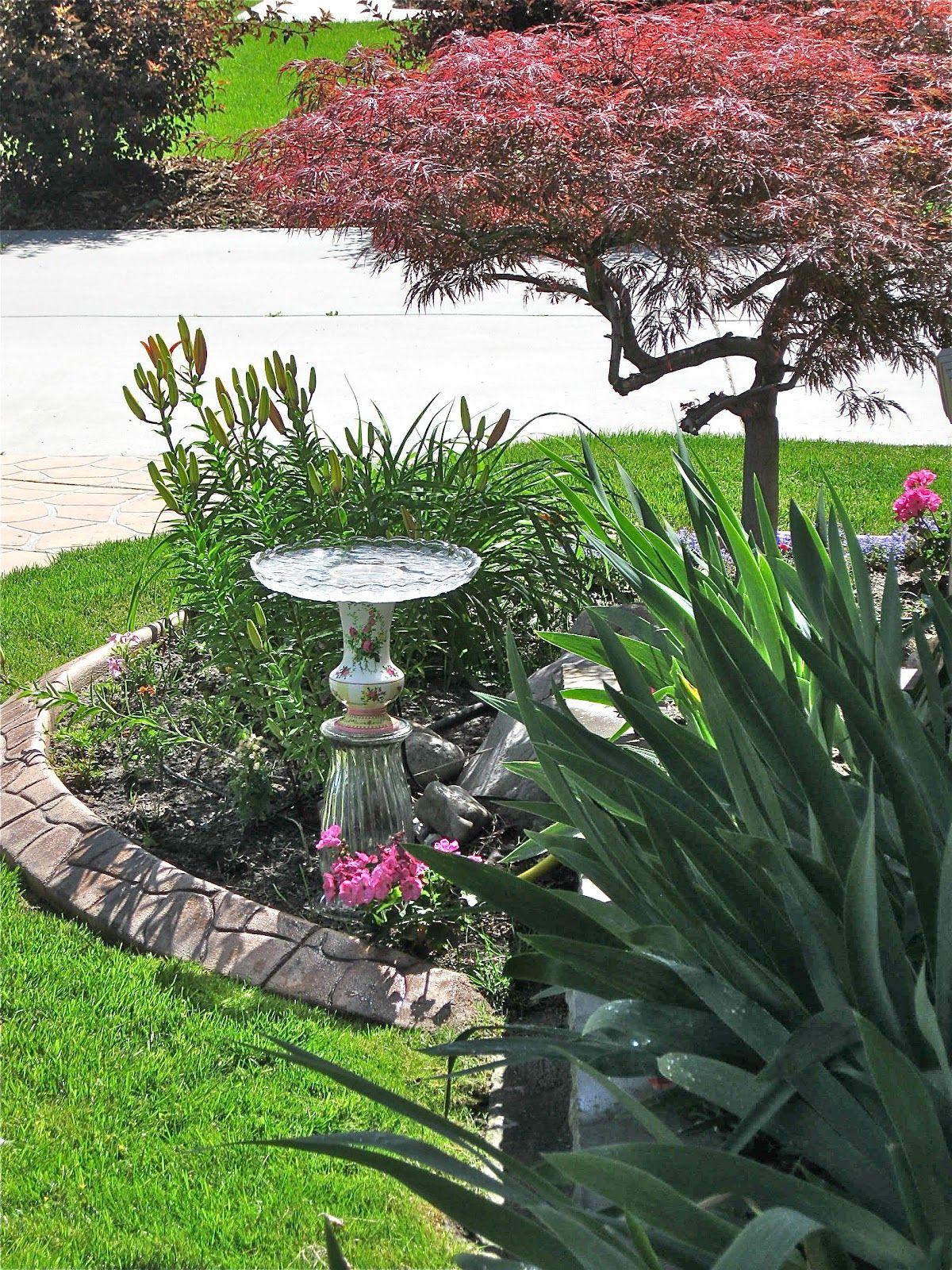 Glass yard art  glass garden art  Google Search  gardening  Pinterest