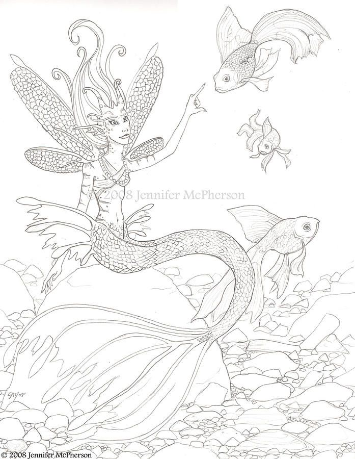 The Water Sprite by Jennifer McPherson | Fairy coloring ...