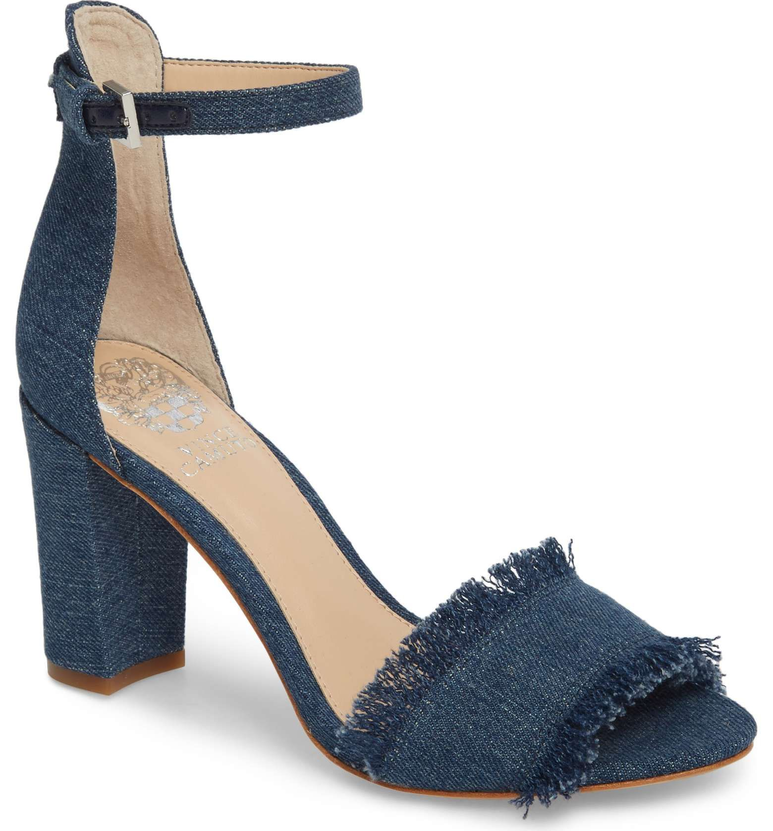 2c463d471504 How cute are these denim fray block heels for springtime !  Vince Camuto