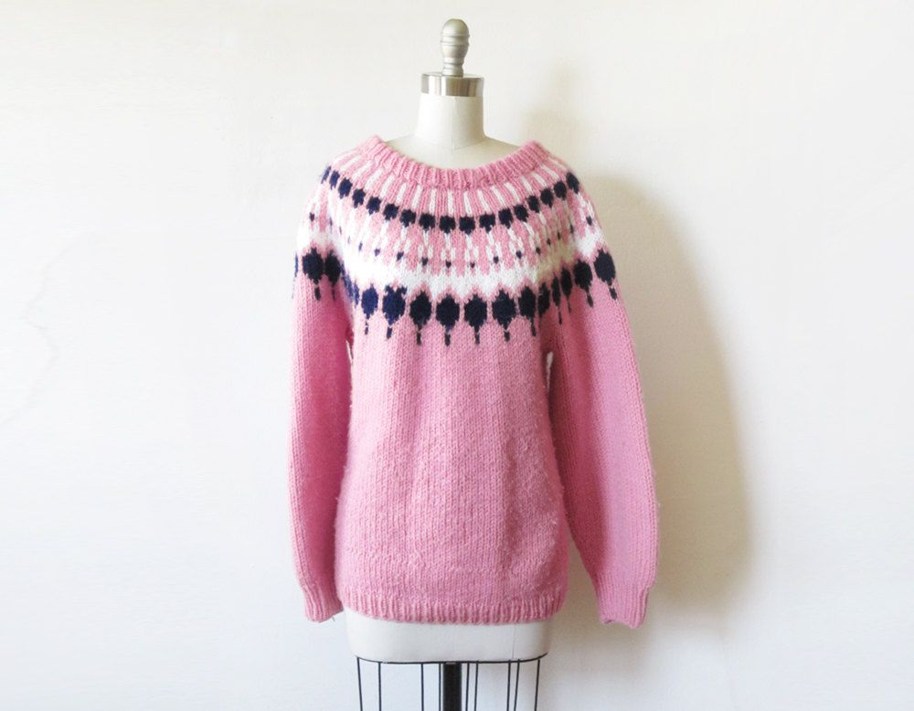 Fair isle sweater / vintage pink nordic sweater / 1970s pullover ...