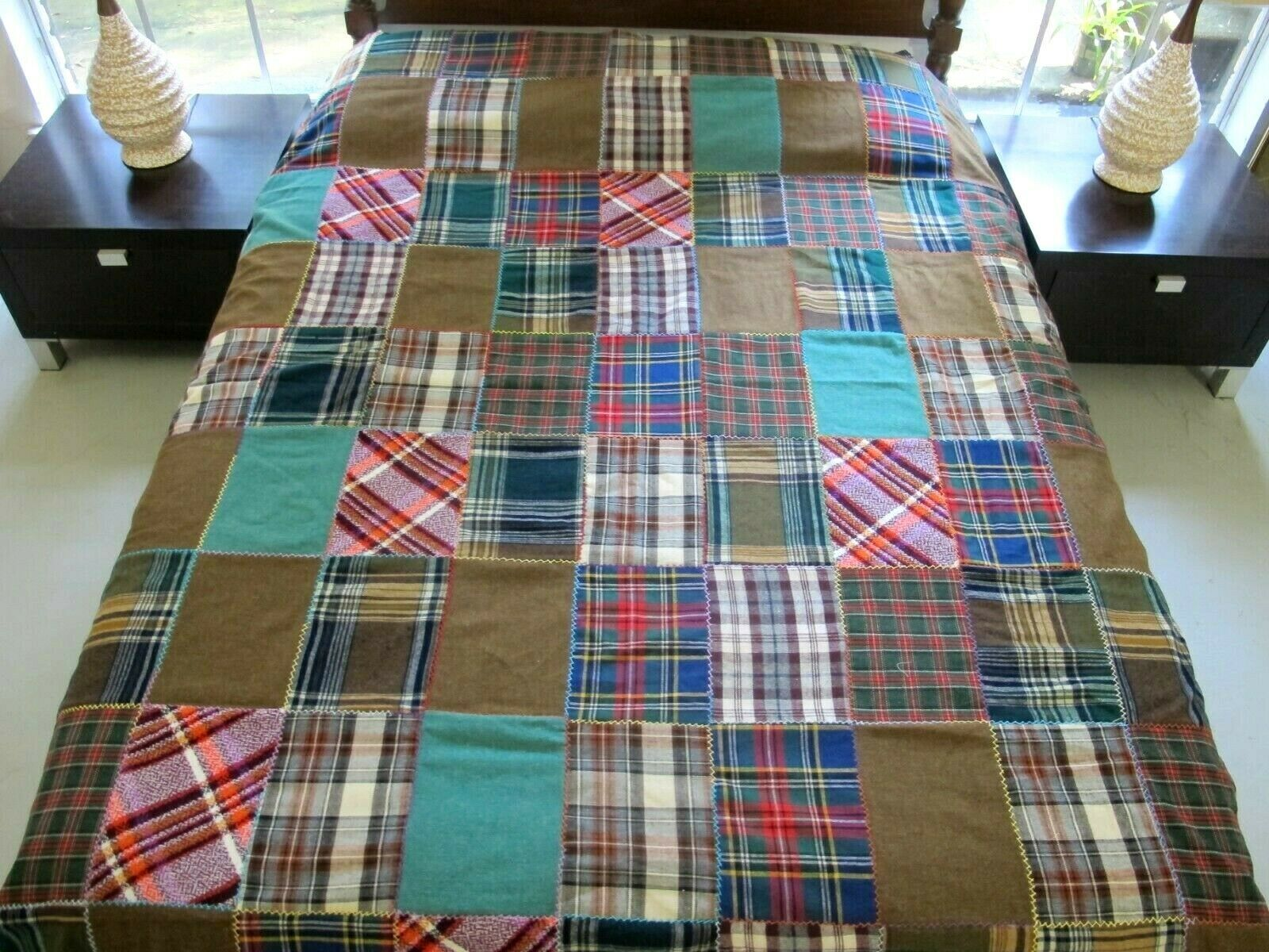 Vintage Feather Stitched All Wool Scottish Tartan Brick Wall Quilt Top 85 X 78 In 2020 Wall Quilts Quilted Wall Hangings Quilt Top