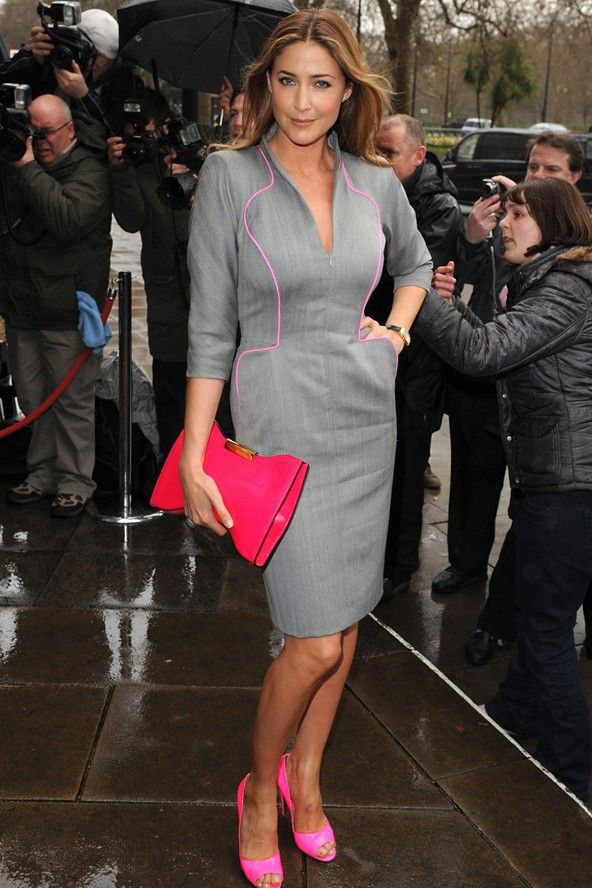 grey and pink clothes - Lisa Snowdon in a grey dress with pink ...