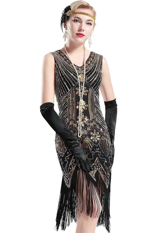 Babeyond Damen Flapper Kleider voller Pailletten Retro 1920er Jahre Stil V-Ausschnitt  Great Gatsby Kostüm Kleid (Größe M   UK12-14   EU 40-42, ... cce1689ae8