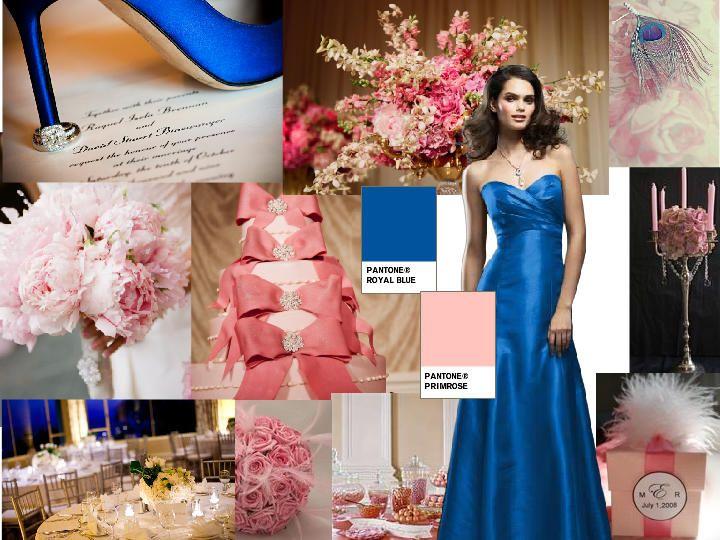 Royal Blue And Light Pink Pantone Wedding Styleboard The Dessy Group Light Pink Wedding Royal Blue Wedding Blue And Blush Wedding